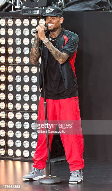 Singer Chris Brown performs on NBC's 'Today' at the NBC's TODAY Show on August 30 2013 in New York New York