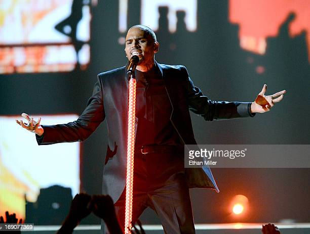 Singer Chris Brown performs onstage during the 2013 Billboard Music Awards at the MGM Grand Garden Arena on May 19 2013 in Las Vegas Nevada