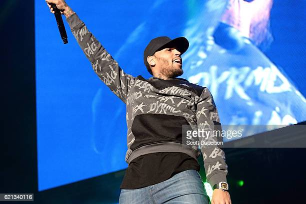 Singer Chris Brown performs onstage during the 923 Real Show at The Forum on November 5 2016 in Inglewood California