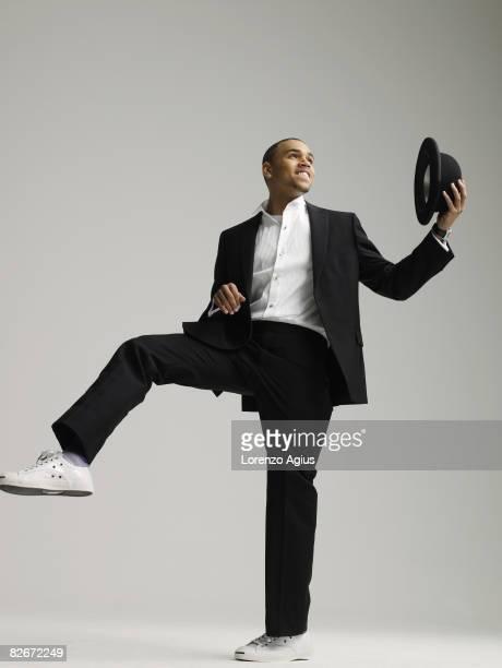 Singer Chris Brown poses for a portrait shoot for Mens Health magazine London on November 19 2007
