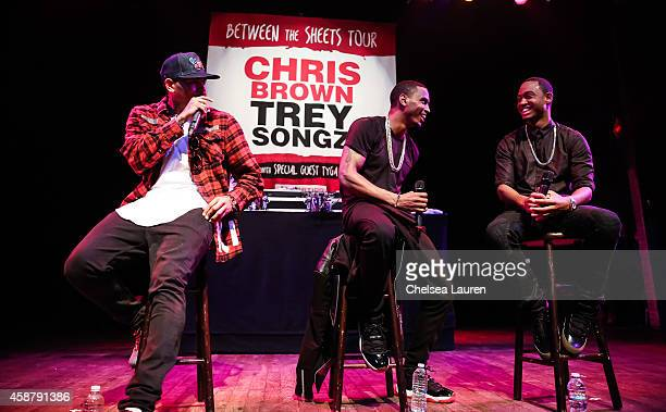 Singer Chris Brown singer Trey Songz and TV personality Terrence J attend a press conference at House of Blues Sunset Strip on November 10 2014 in...