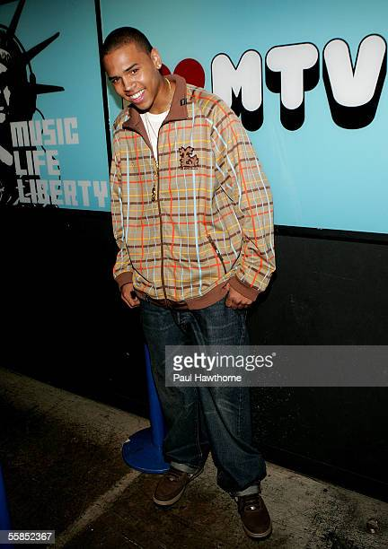 Singer Chris Brown stops by MTV's Total Request Live October 4 2005 in New York City