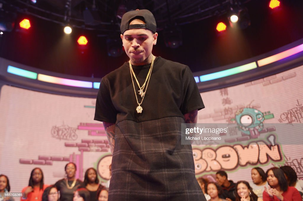 Singer Chris Brown visits BET's '106 & Park' at BET Studios on April 1, 2013 in New York City.