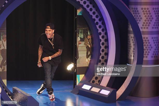 Singer Chris Brown visits BET's 106 Park at BET Studios on April 1 2013 in New York City