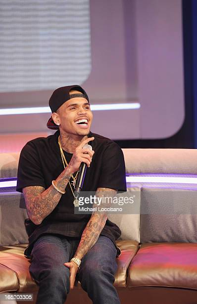 Singer Chris Brown visits BET's '106 Park' at BET Studios on April 1 2013 in New York City