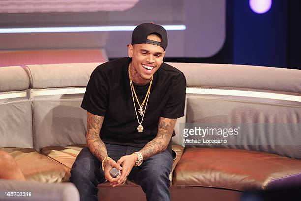 Singer Chris Brown visits BET's 106 Park at BET Studios on April 1 2013 in New York City