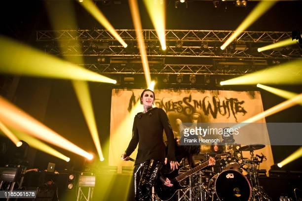 Singer Chris Cerulli of the American band Motionless in White performs live on stage during a concert at the Kesselhaus on November 27 2019 in Berlin...