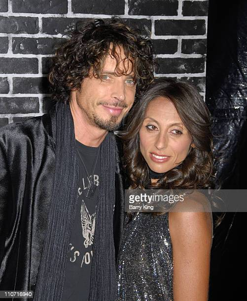Singer Chris Cornell and wife Vicky Karayiannis arrives at the Verizon Wireless and People party held at Avalon Hollywood on February 8 2008 in...