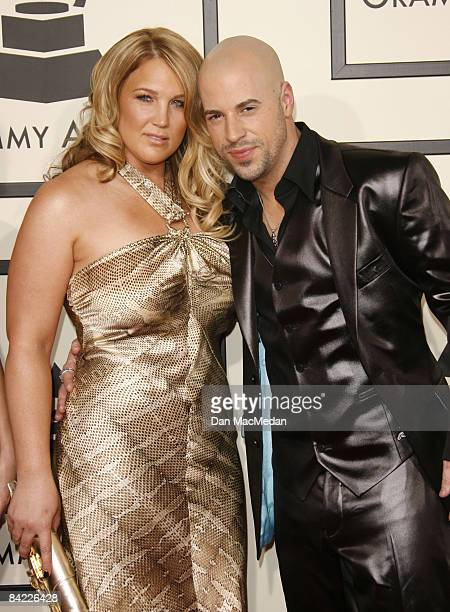 Singer Chris Daughtry and wife Deanna Daughtry arrive on the red carpet for the 50th Annual Grammy Awards held at the Staples Center on February 10...