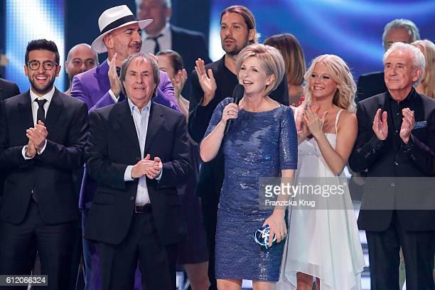 US singer Chris de Burgh german moderator Carmen Nebel and swedish singer Julia Lindholm during the tv show 'Willkommen bei Carmen Nebel' at Velodrom...