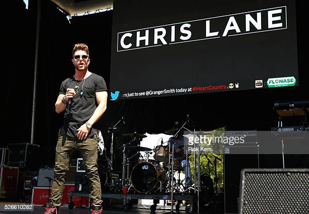 Singer Chris Lane performs live during the 2016 Daytime Village at the iHeartCountry Festival at The Frank Erwin Center on April 30 2016 in Austin...