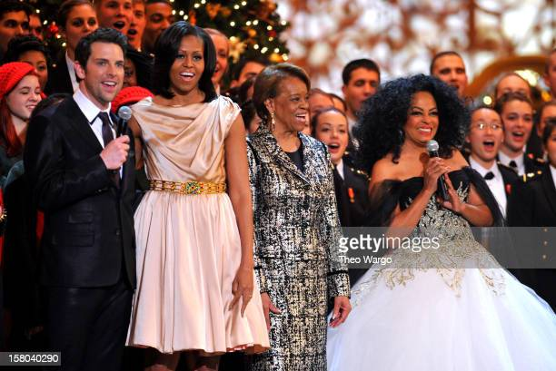 Singer Chris Mann First Lady Michelle Obama Marian Shields Robinson and singer Diana Ross speak onstage during TNT Christmas in Washington 2012 at...
