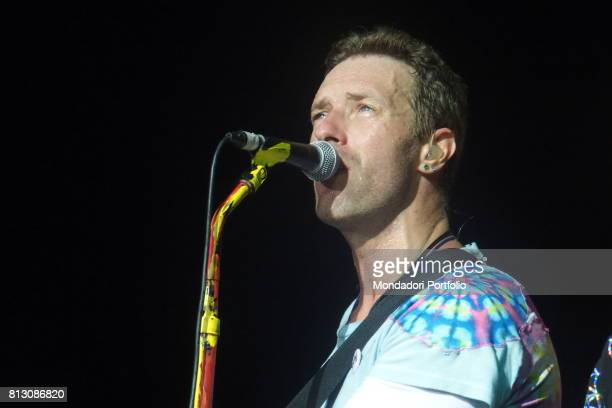 Singer Chris Martin front man of Coldplay in concert at San Siro Stadium during the Head Full of Dreams Tour Milan Italy 3rd July 2017