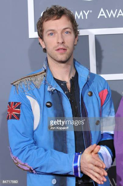 Singer Chris Martin of Coldplay arrives at the 51st Annual Grammy Awards at the Staples Center on February 8 2009 in Los Angeles California