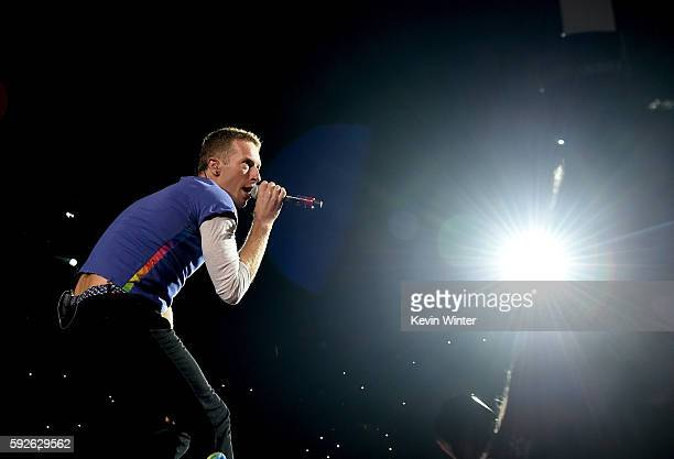 Singer Chris Martin of Coldplay performs at the Rose Bowl on August 20 2016 in Pasadena California