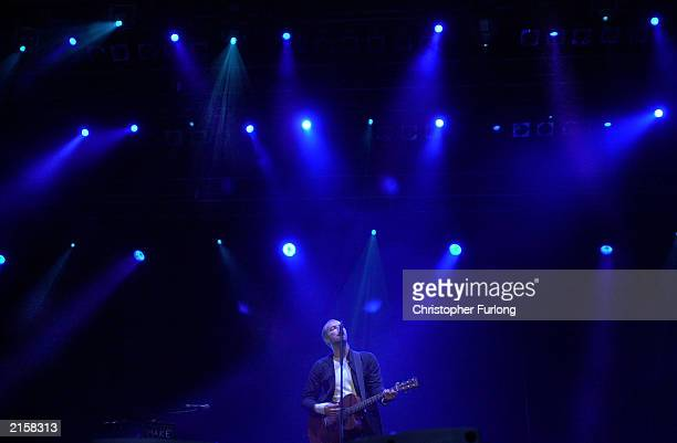 Singer Chris Martin of music group Coldpaly performs during The T In The Park Festival on July 13 2003 at Balado near Kinross in Scotland