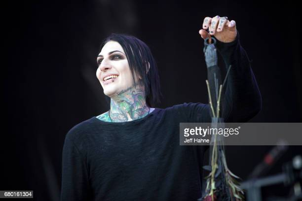 Singer Chris Motionless of Motionless In White performs during Carolina Rebellion at Charlotte Motor Speedway on May 7 2017 in Charlotte North...