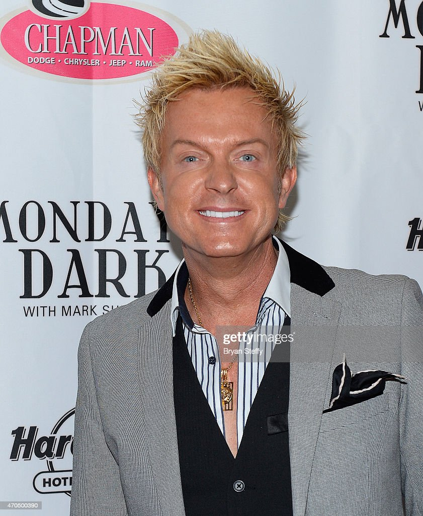 Singer Chris Phillips of Zowie Bowie arrives at Mondays Dark with Mark Shunock benefiting Olive Crest at Vinyl inside the Hard Rock Hotel & Casino on April 20, 2015 in Las Vegas, Nevada.