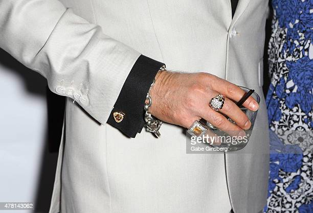 Singer Chris Phillips of Zowie Bowie, rings detail, attends opening night of the a cappella group Mo5aic's residency at Bally's Las Vegas on June 22,...