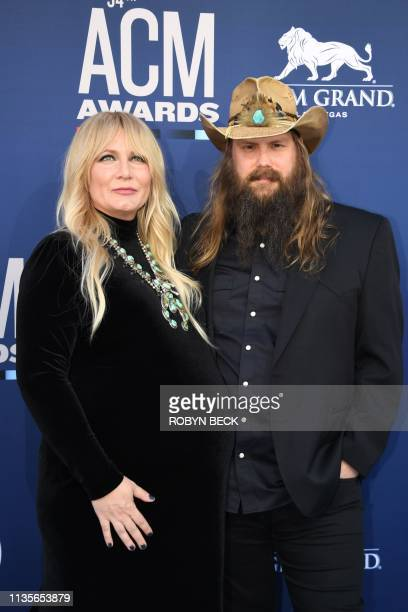 US singer Chris Stapleton and wife US singer Morgane Stapleton arrive for the 54th Academy of Country Music Awards on April 7 at the MGM Grand Garden...