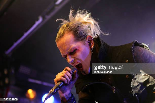 Singer Chris 'The Lord'Harms of the Hamburger DarkRockBand 'Lord of the Lost' performes at Club Colossal in Aschaffenburg Germany 20 September 2013...