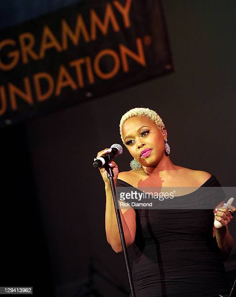 Singer Chrisette Michele attends the 53rd Annual GRAMMY Awards Music Preservation Project Word Revolution at the Wilshire Ebell Theatre on February...
