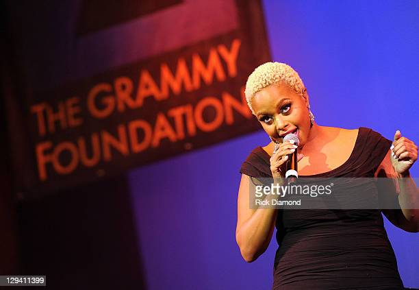 Singer Chrisette Michele performs at the 53rd Annual GRAMMY Awards Music Preservation Project Word Revolution at the Wilshire Ebell Theatre on...