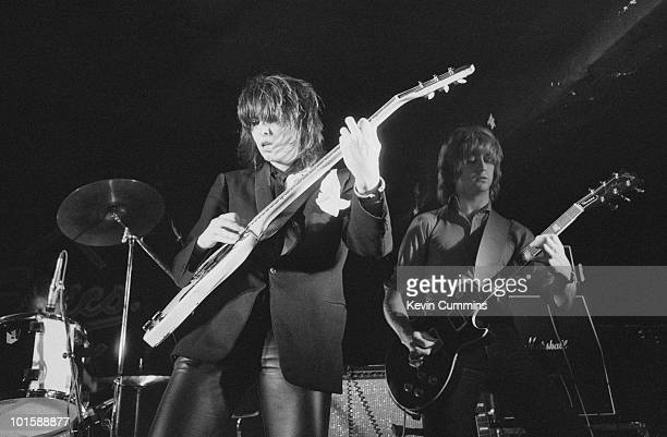 Singer Chrissie Hynde and guitarist James Honeyman-Scott of The Pretenders perform on stage at Eric's in Liverpool, England in March 1979.