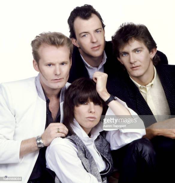 Singer Chrissie Hynde and The Pretenders pose for a portrait circa 1984 in Los Angeles, California