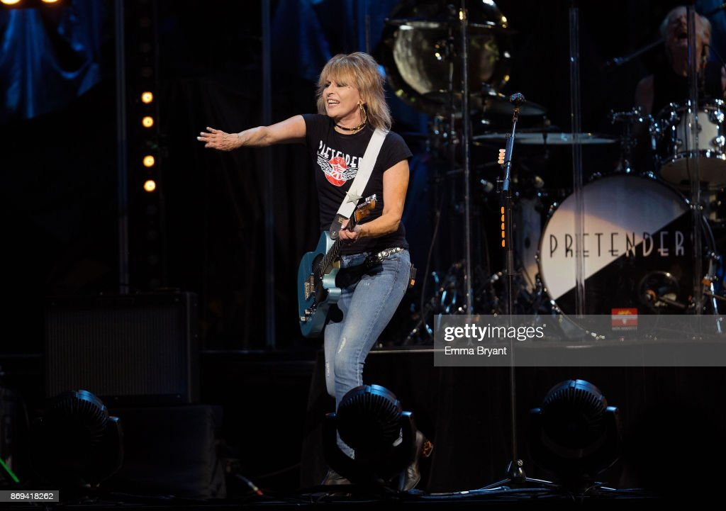 Singer Chrissie Hynde orders an audience member to stop taking photos during her performance on stage with The Pretenders as the support act for Stevie Nicks 24 Karat Gold Tour at Perth Arena on November 2, 2017 in Perth, Australia.