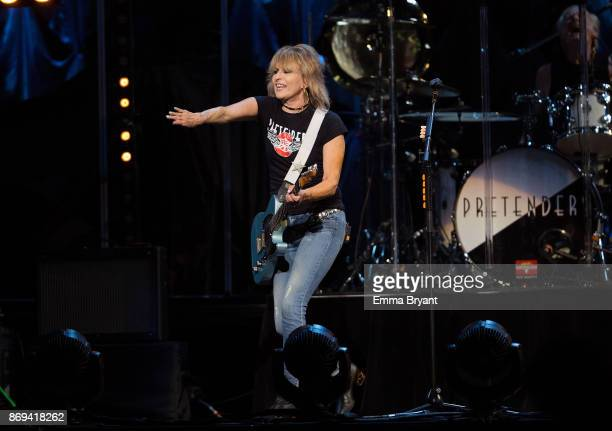 Singer Chrissie Hynde orders an audience member to stop taking photos during her performance on stage with The Pretenders as the support act for...