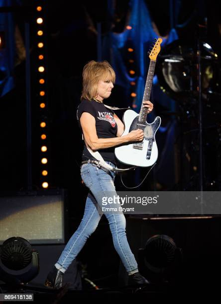 Singer Chrissie Hynde performs on stage with The Pretenders as the support act for Stevie Nicks performs on stage during her 24 Karat Gold Tour at...