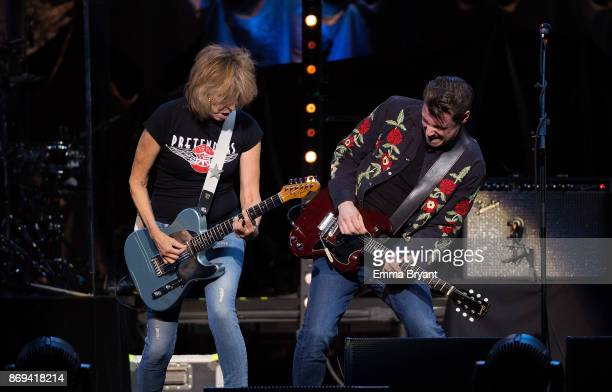 Singer Chrissie Hynde performs on stage with The Pretenders as the support act for Stevie Nicks 24 Karat Gold Tour at Perth Arena on November 2 2017...