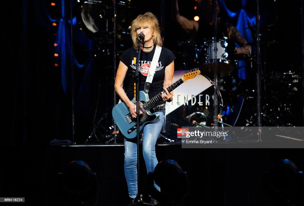 Singer Chrissie Hynde performs on stage with The Pretenders as the support act for Stevie Nickser 24 Karat Gold Tour at Perth Arena on November 2, 2017 in Perth, Australia.