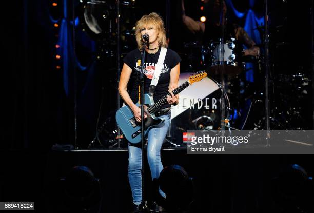 Singer Chrissie Hynde performs on stage with The Pretenders as the support act for Stevie Nickser 24 Karat Gold Tour at Perth Arena on November 2...
