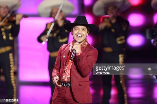 Singer Christian Nodal performs on stage during The Premios de la Radio 2019 at Verizon Theater on November 7 2019 in Grand Prairie Texas