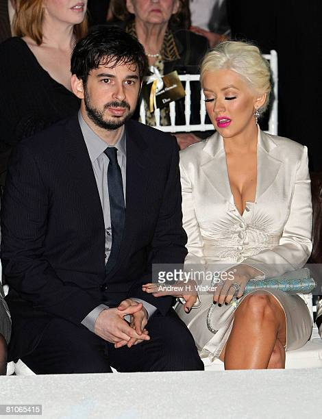 Singer Christina Aguilera and her husband Jordan Bratman attend the Christian Dior Cruise 2009 Collection at Gustavino's in New York City