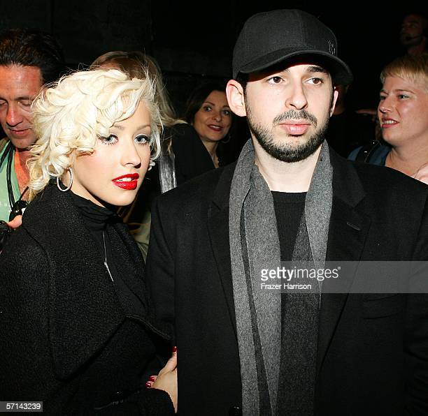 Singer Christina Aguilera and husband Jordan Bratman backstage at the Agent Provocateur Fall 2006 show during MercedesBenz Fashion Week at Smashbox...