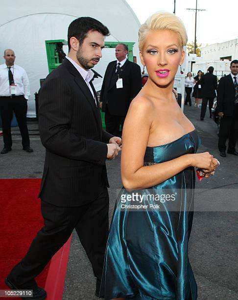 Singer Christina Aguilera and husband Jordan Bratman behind the scenes at the 59th Primetime EMMY Awards at the Shrine Auditorium on September 16...