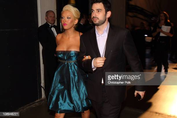 Singer Christina Aguilera and husband Jordan Bratman behind the scenes at the 59th Primetime EMMY Awards at the Shrine Auditorium on September 16...