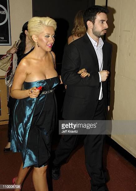 Singer Christina Aguilera and husband Jordan Bratman during the 59th Annual Primetime EMMY Awards at the Shrine Auditorium on September 16 2007 in...