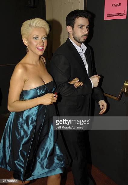 LOS ANGELES CA SEPTEMBER 16 Singer Christina Aguilera and husband Jordan Bratman during the 59th Annual Primetime EMMY Awards at the Shrine...