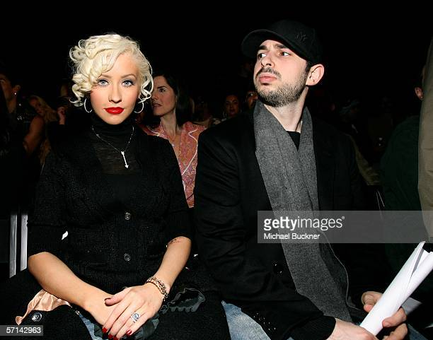 Singer Christina Aguilera and husband Jordan Bratman in the front row at the Agent Provocateur Fall 2006 show during MercedesBenz Fashion Week at...