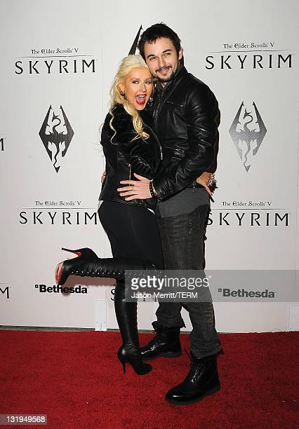 Singer Christina Aguilera and Matt Rutler arrive at the official launch party for the most anticipated video game of the year The Elder Scrolls V...
