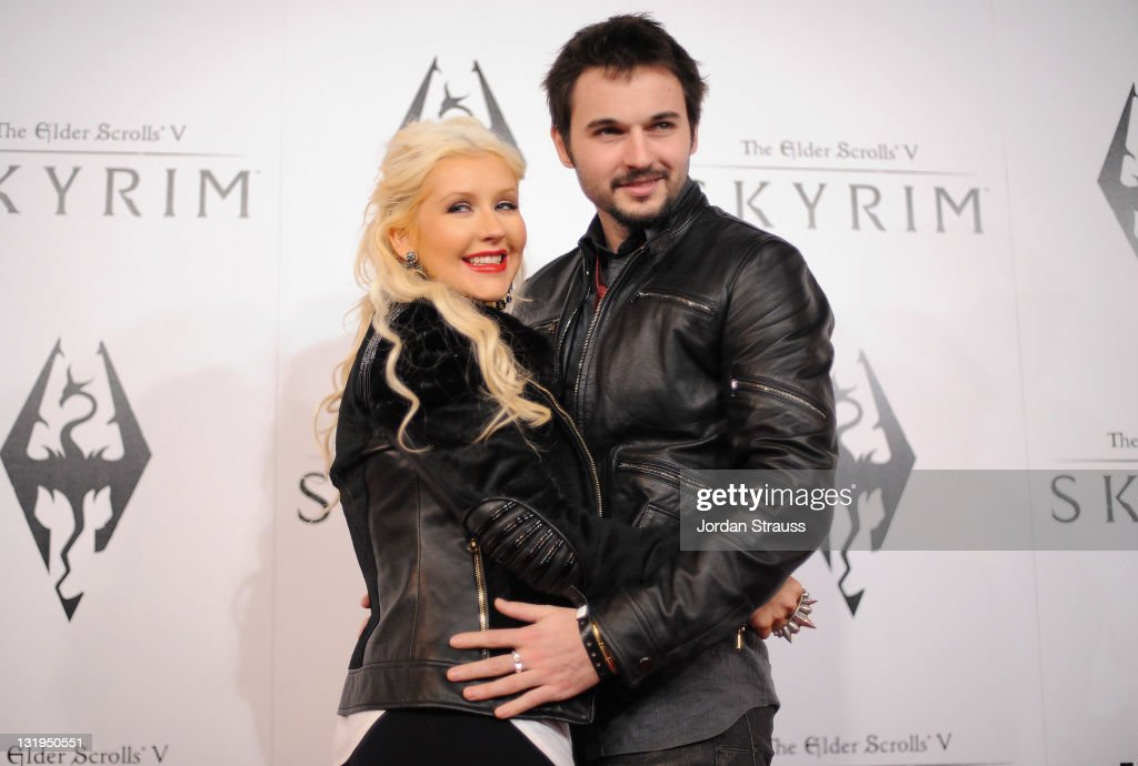 Singer Christina Aguilera and Matt Rutler arrive at the official launch party for the most anticipated video game of the year, The Elder Scrolls