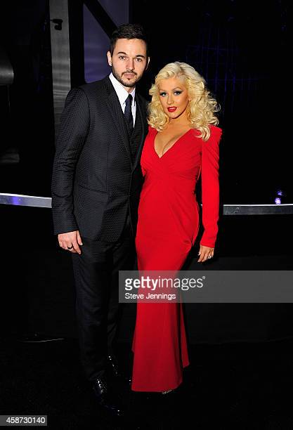 Singer Christina Aguilera and Matt Rutler attend the Breakthrough Prize Awards Ceremony Hosted By Seth MacFarlane at NASA Ames Research Center on...
