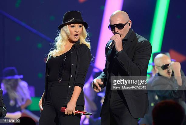 Singer Christina Aguilera and rapper Pitbull perform during Nickelodeon's 26th Annual Kids' Choice Awards at USC Galen Center on March 23 2013 in Los...