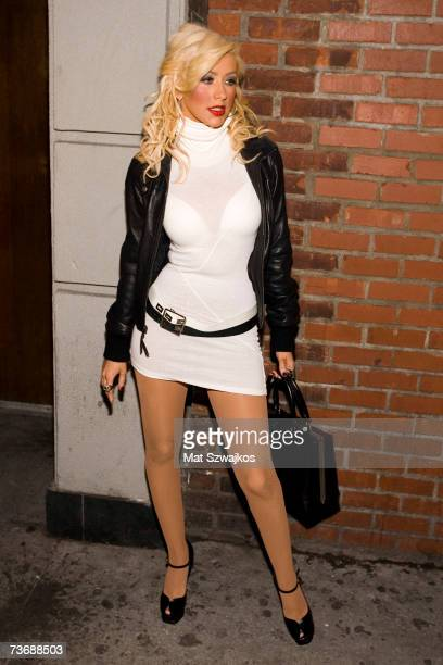 Singer Christina Aguilera arrives at her 'Back To Basics' after party at Marquee night club on March 23 2007 in New York City