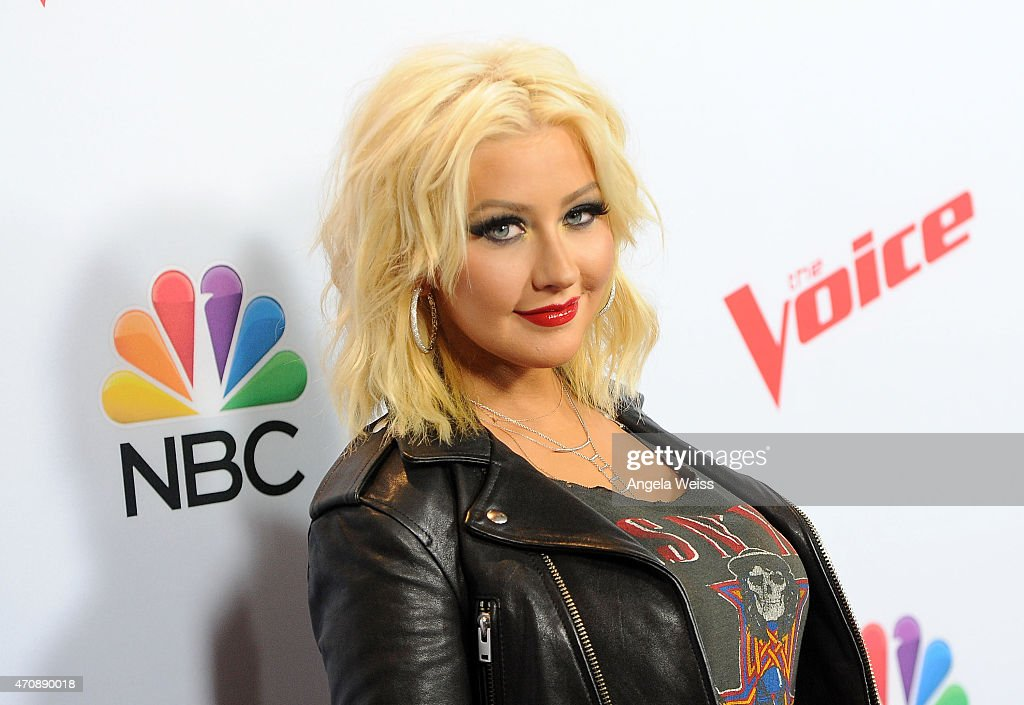 Singer Christina Aguilera arrives at NBC's 'The Voice' Season 8 red carpet event at Pacific Design Center on April 23, 2015 in West Hollywood, California.