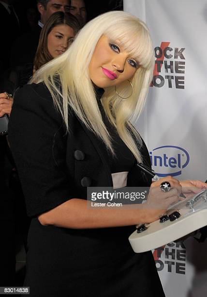 Singer Christina Aguilera arrives at Rock The Vote Hosted by Christina Aguilera held at the Esquire House Hollywood Hills on September 25 2008 in Los...